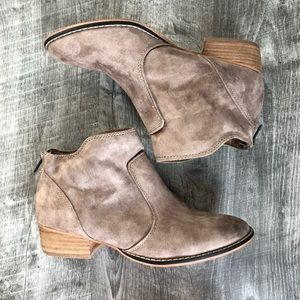 Madden Girl Brownie Taupe Tan Suede Ankle Booties